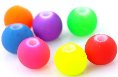 100 Mixed Neon Coloured Acrylic Ball Beads 6mm